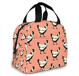 SWOGEMM Pop Art Chickens Lunch Bag Perfect for Work Picnic Students School 3D Printed Waterproof Adult Lunch Tote Bag with Front Pocket Zipper Closure Food Bag Lunch Holder