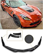 Replacement for 2014-2019 Corvette C7 All Models | Z06 Stage 3 Front Bumper Lip Splitter with Painted Carbon Flash Metallic Side Extension Winglets Pair (Carbon Fiber)