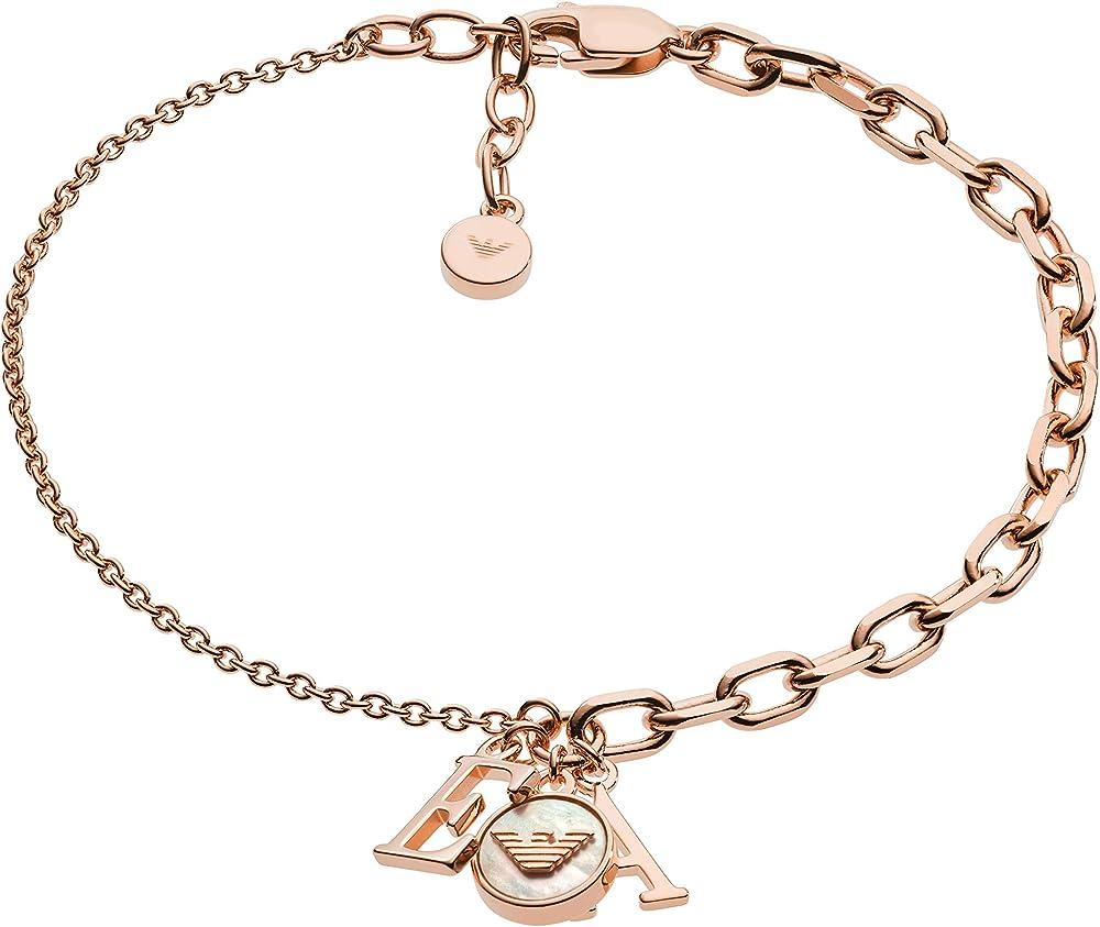 Emporio armani, bracciale per donna, in argento stearling 925, tonalità oro rosa EG3385221