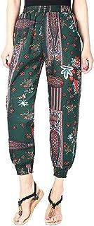 YiyiLai Women Beach Floral Elastic High Waist Loose Pockets Trouser Harem Pants