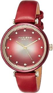 Akribos XXIV Leather Women's Watch AK1035 – Genuine Swarovski Crystal Markers on Two Tone Gradient Dial Sunray Dial – Elegant Skinny Strap