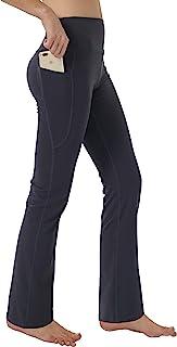 puutiin Women's Bootleg Yoga Pants with Hidden Pockets Tummy Control Running Legging Long Bootcut