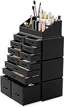 Readaeer Organizador de maquillaje de cosméticos, caja de exhibición de joyas, 4 piezas, 12 cajones, Blanco (negro)