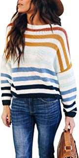 Women Sweaters Long Sleeve Crew Neck Color Block Striped...