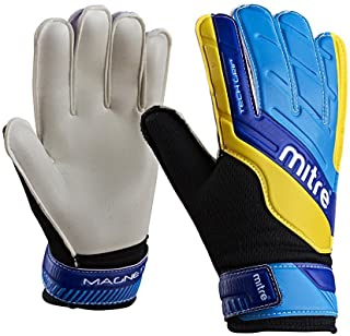 Mitre Magnetite Junior Soccer Goalie Gloves, Black/Cyan/Yellow, Size 5
