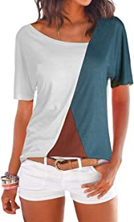 YOINS Camiseta Mujer de Manga Larga Blusa con Hombros Fríos Camisa Casual Camisetas a Rayas Cuello Redondo Imprimiendo Pul...