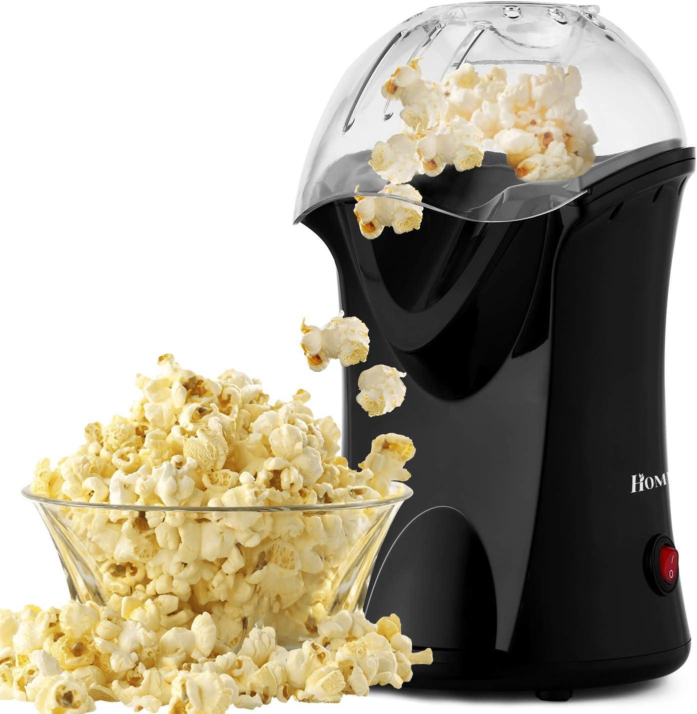 Black No Oil Popcorn Popper with Measuring Cup 1200W Hot Air Popcorn Popper Maker Popcorn Machine