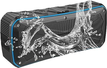 EMODUX Waterproof Portable Bluetooth Speaker Black with Blue Trim