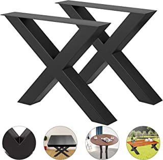 """VEVOR Set of 2 Steel Table Legs 28""""x30"""" Dining Table Legs 28""""Height 30""""Wide Office Table Legs Computer Desk Legs Steel Bench Legs Country Style Table Legs DIY Furniture Legs (X-Shape/B)"""
