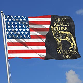 JQDAPaflag I Just Really Like Wolves OK Breeze Flag 3 X 5-100% Polyester Single Layer Translucent Flags 90 X 150CM - Banner 3' X 5' Ft