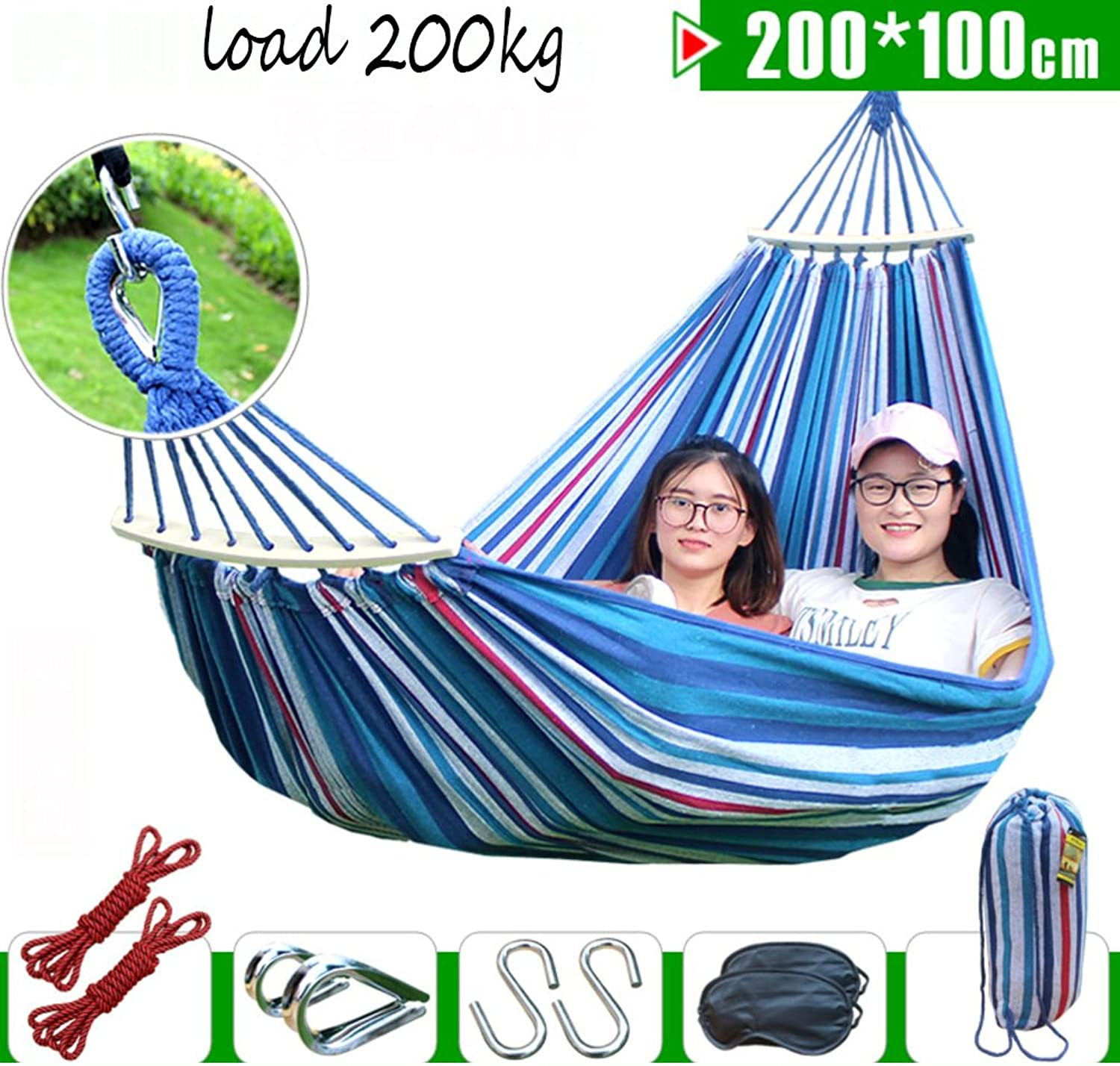 L&J Chromatic Stripe Hammock,Outdoor Camping Hammocks Single Double Thick Canvas Breathable Swing Bed AntiFade FastDrying Hammock Camping Garden