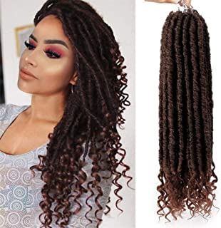 AISI BEAUTY Faux Locs Crochet Hair Goddess Locs Crochet Hair Extension 16 Inches Synthetic Hair Extension with Curly Ends 6 Packs/Lot 24 Strands (T1B/30#)