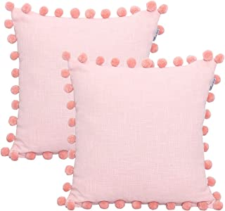 Cotton Slub Textrured Christmas Decorative Cushion Cover,Throw Pillow Case For Home Sofa Couch Chair Back Seat,2pc pack 18X18 inch in Cotton Textured Slub with Velvet Pom Pom in BLUSH Colour .