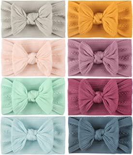 Babos 5 Pcs Baby Dotted Butterfly Hair Tie Headbands with Bows Wide Headbands Super Stretchy Soft Elastic