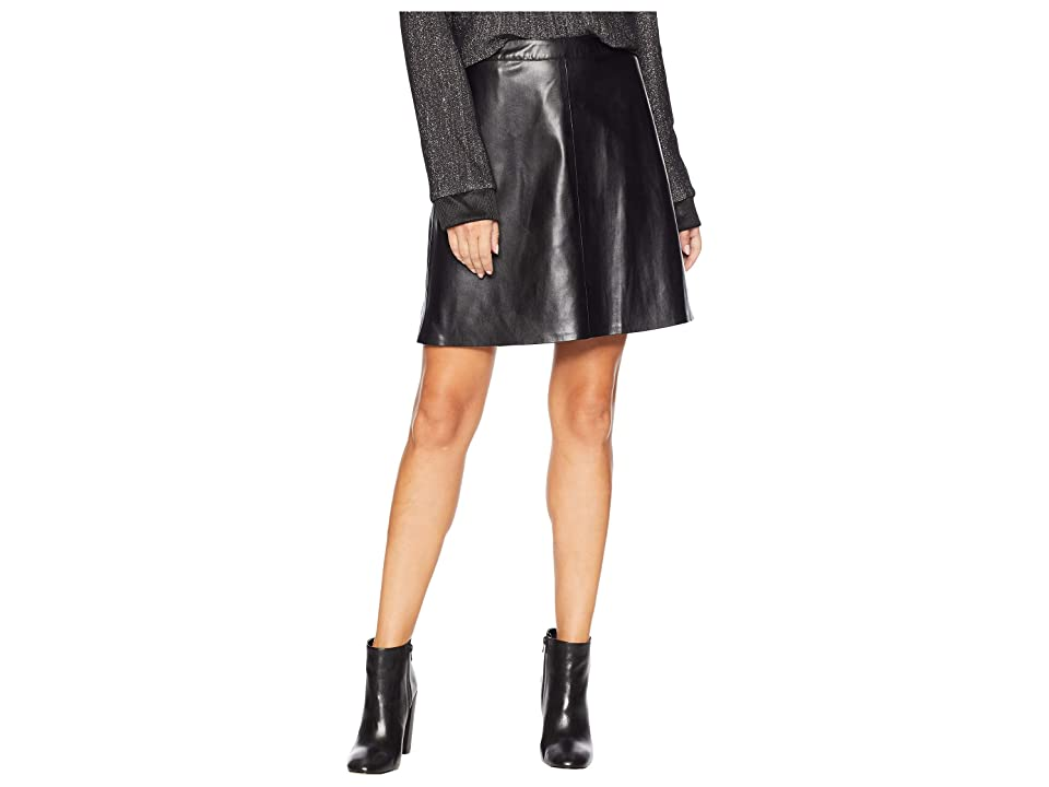 Vince Camuto Back Zip Pleather Skirt (Rich Black) Women