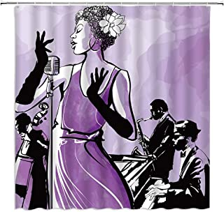 Sexy African American Woman Shower Curtain Jazz Singer with Saxophone Double Bass and Piano Retro Music Show Decor,Purple ...