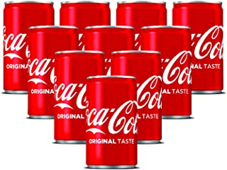 Coca-Cola Regular Carbonated Soft Drink, Can - 150 ml (Pack of 10)