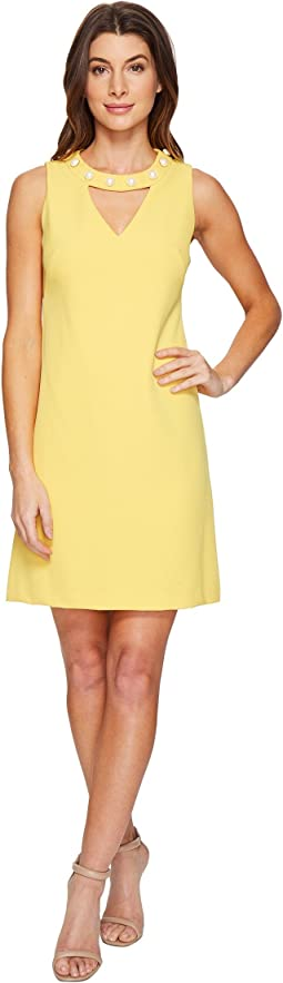 Gisela Sleeveless Keyhole Dress with Pearl Detail