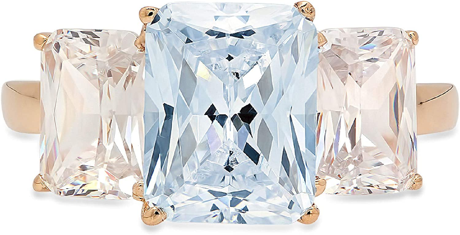 Clara Pucci 4.1 Brilliant Emerald Cut 3 Stone Solitaire Accent Stunning Genuine Flawless Natural Sky Blue Topaz Gem Designer Modern Ring Solid 18K yellow Gold