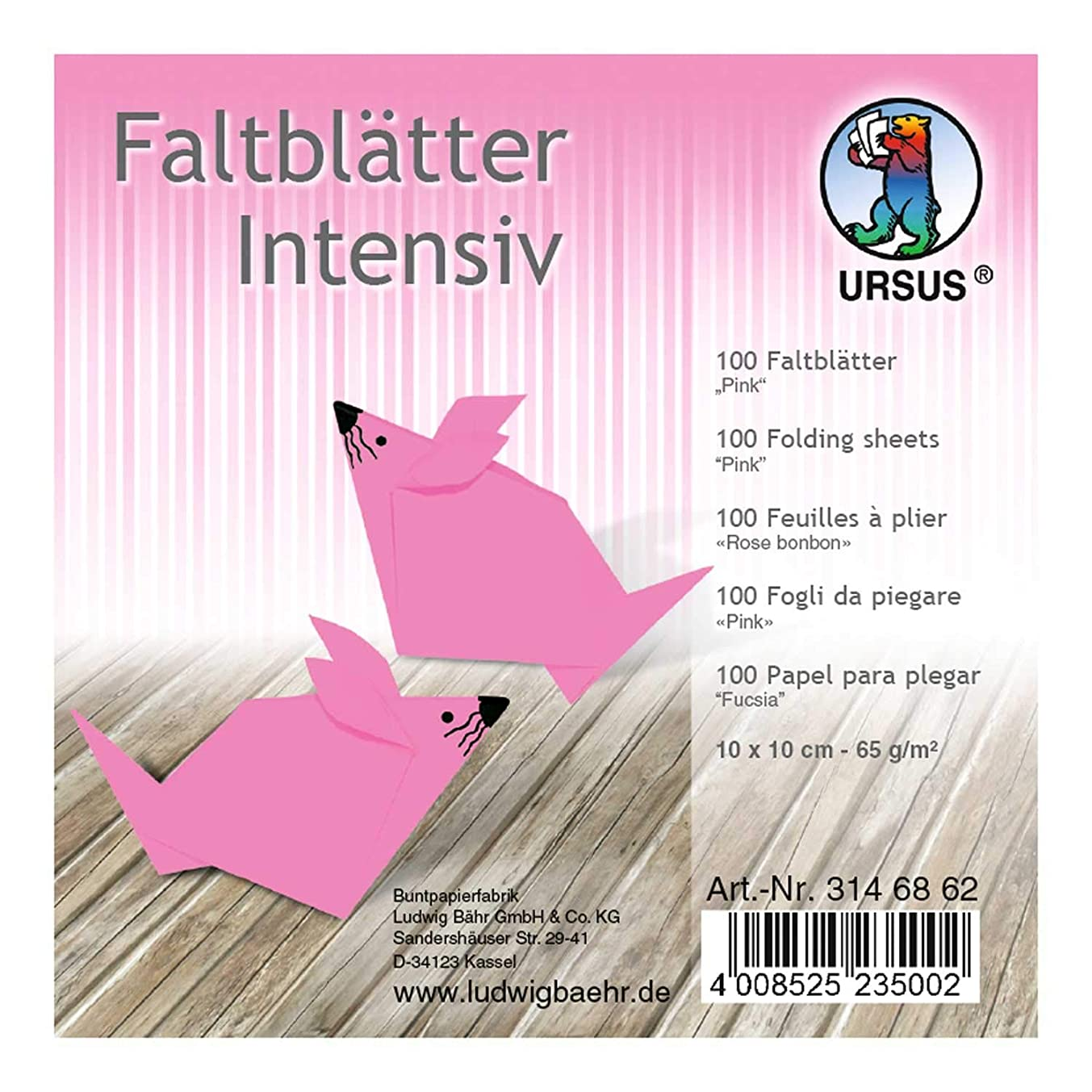 Ursus 3146862 Folding Sheets Plain 100 Sheets 65 g/m2 10 x 10 cm for Small and Large Origami Artists Coloured Intense Colours Pink