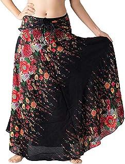 Beishi Women Skirt, Long Hippie Boho Gypsy Boho Flowers Elastic Waist Floral Halter Skirt