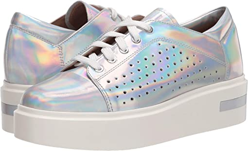 Silver Iridescent Metallic Leather
