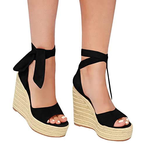 39821e735b796 Wedge Sandals with Ankle Tie: Amazon.com