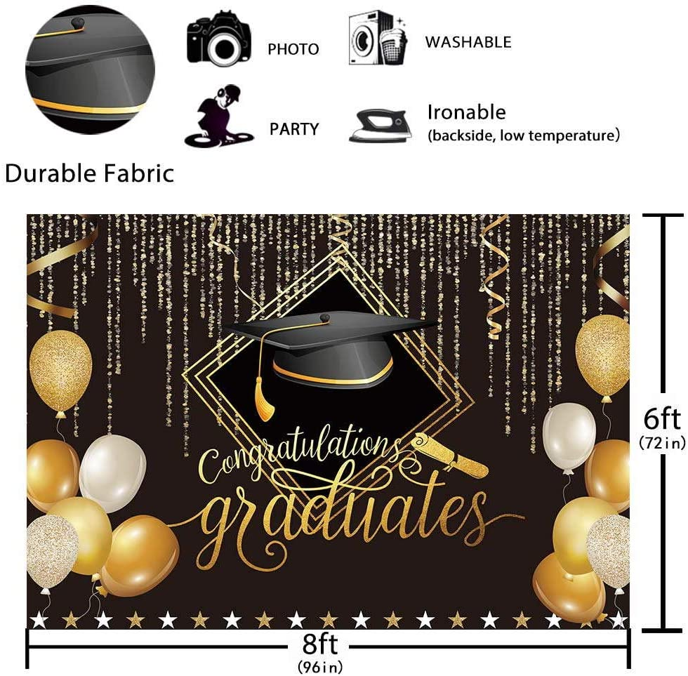 Funnytree 8X6FT Soft Fabric 2020 Class Graduation Photography Backdrop Black and Gold Bachelor Cap Balloon Grad Congrats Party Banner Supplies Background for Picture Prop Photobooth Decoration