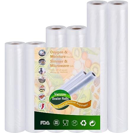 Sottovuoto-rotoli per alimenti-conservazione goffrati-trasparente approvazione FDA e BPA Liberi - 2 Rotoli 15x300cm e 2 Rotoli 20x300cm e 2 Rotoli 28x300cm