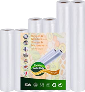 Vacuümzakken voor levensmiddelen, 6 rollen, 20 x 300 cm en 28 x 300 cm en 15 x 300 cm, BPA-vrij, FDA-goedgekeurd, commerci...