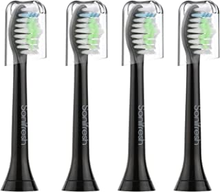 Sonifresh DiamondClean Replacement Brush Heads, Black Sonic Care Toothbrush Heads Compatible with Phillips Sonicare Diamondclean, 2 Series Plaque Control,Gum Health, HealthyWhite, EasyClean, 4 Pack