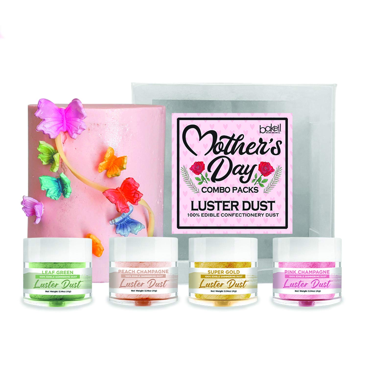 BAKELL Edible 67% OFF of fixed price Luster Dust Miami Mall 4 PC Day Mother's Combo Gram Pack A