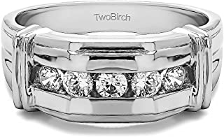 TwoBirch 1 Ct. 5 Stone Men's Ring with Ribbed Shank Design In 10K Gold With Diamonds (G,I2)