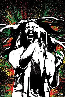Pyramid America Bob Marley Singing Neon Paint Splash Music Laminated Dry Erase Sign Poster 24x36