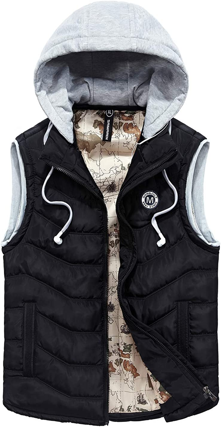 Flygo Men's Lightweight Outdoor Removable Hooded Quilted Padding Puffer Vest