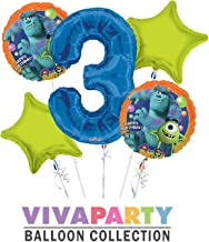 Monsters University Round Balloon Bouquet 5 pc, 3rd Birthday, Blue Number 3 Jumbo Balloon | Viva Party Balloon Collection