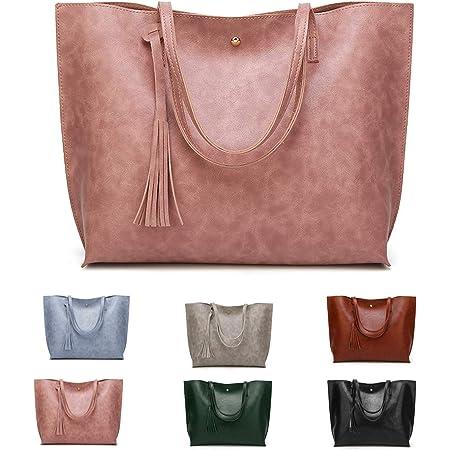 ZhengYue Handtasche Damen Tasche PU lederne Schultertasche Casual Handtaschen Shopper Shopping Bag Umhängetasche Elegant Groß für Alltag Büro Schule Ausflug Einkauf Rosa