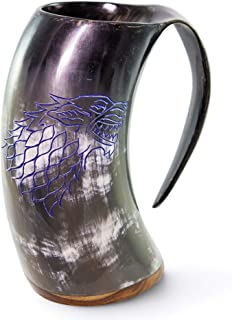 Norse Tradesman Genuine Viking Drinking Horn Mug - 100% Authentic Polished Beer Horn Tankard w/Game of Thrones Direwolf Engraving |