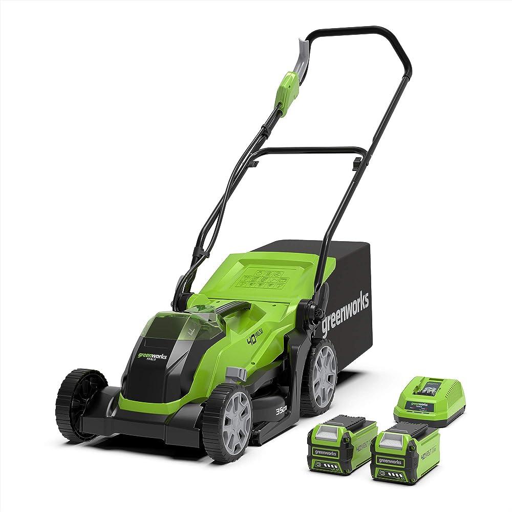 Greenworks Tools G40LM35K2X Cortacésped con batería (Li-Ion 40V 35 cm ancho, hasta 500m² 2en1 mantillo y siega, 40 l caja recolección, 5x veces ajuste altura corte, con 2 baterías 2Ah y cargador)