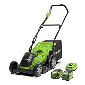 Greenworks Tools Akku-Rasenmäher G40LM35K2X (Li-Ion 40V 35cm Schnittbreite bis zu 500m² 2in1 Mulchen und Mähen 40l Grasfangkorb 5-fache zentrale Schnitthöhenverstellung inkl. 2 Akku 2 Ah & Ladegerät)