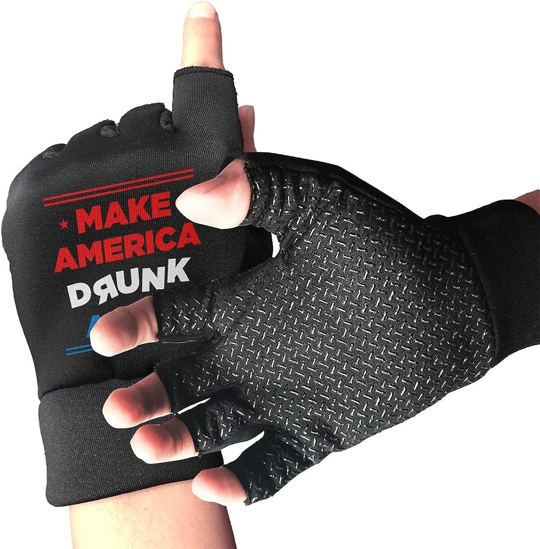 Make America Drunk Again Non-Slip Working Gloves Breathable Sunblock Fingerless Gloves For Women Men