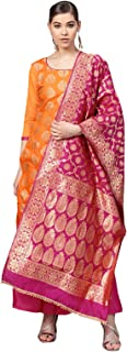 Ishin Women's Chanderi Silk Orange & Pink Woven A-Line Kurta With Palazzo & Dupatta