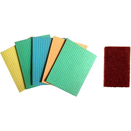 Brite Guard Cellulose Sponge Mop with Brown Polyester Scrub Pad 6x4 Inches (Set of 10-Piece)
