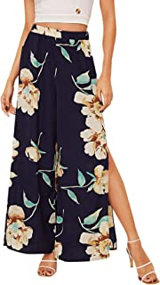 MAKEMECHIC Women's Casual Floral Print Wide Leg Pants Split High Waist Palazzo