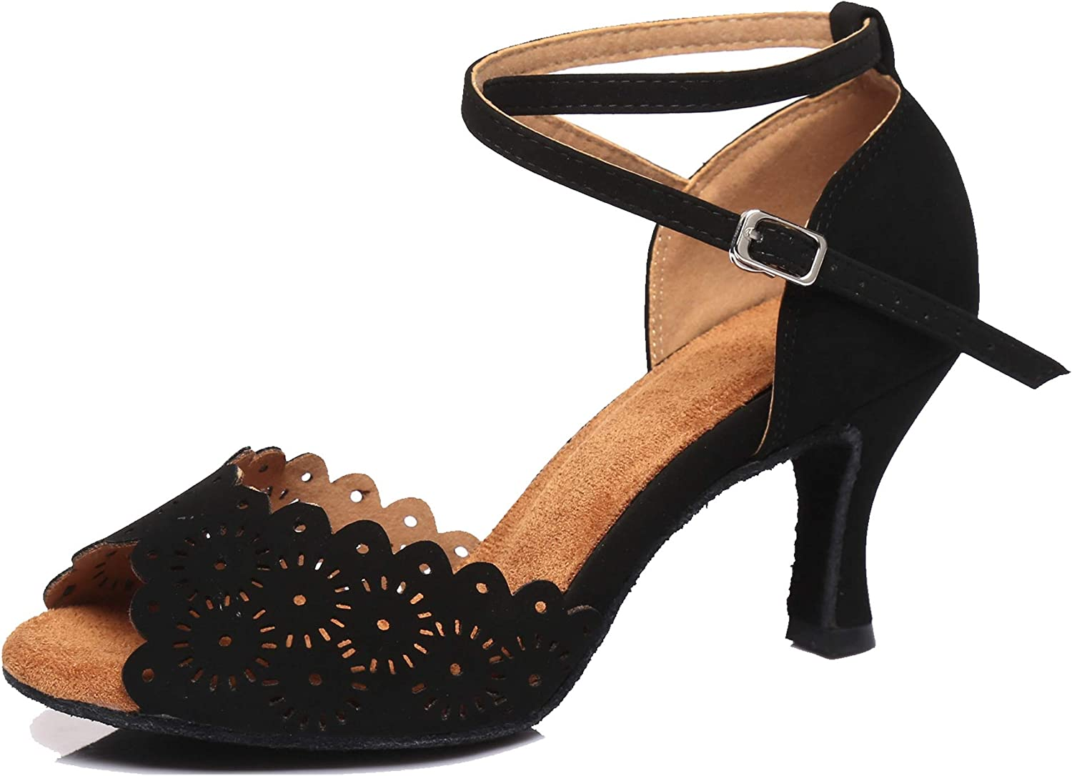Minishion Women's Latin Salsa Free shipping on posting reviews Floral Pa Dance Suede Formal Austin Mall Shoes