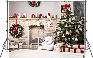 7x5 ft Christmas Tree Backdrop Photography White Brick Fireplace for Newborn Christmas Photo Booth Props Backdrop for Photoshoot