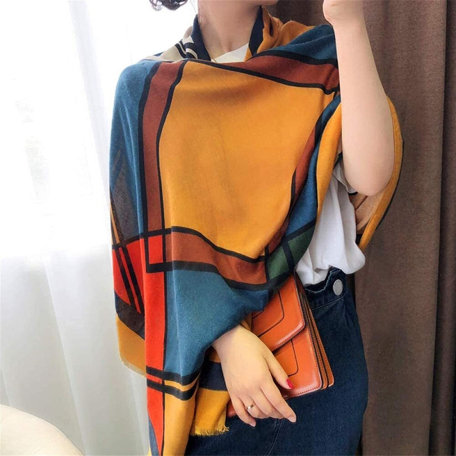 RSBCSHI Scarf Lady, Warm Big Cotton and Linen Shawl Cloak Wrap, for Autumn and Winter Christmas (Color : A)