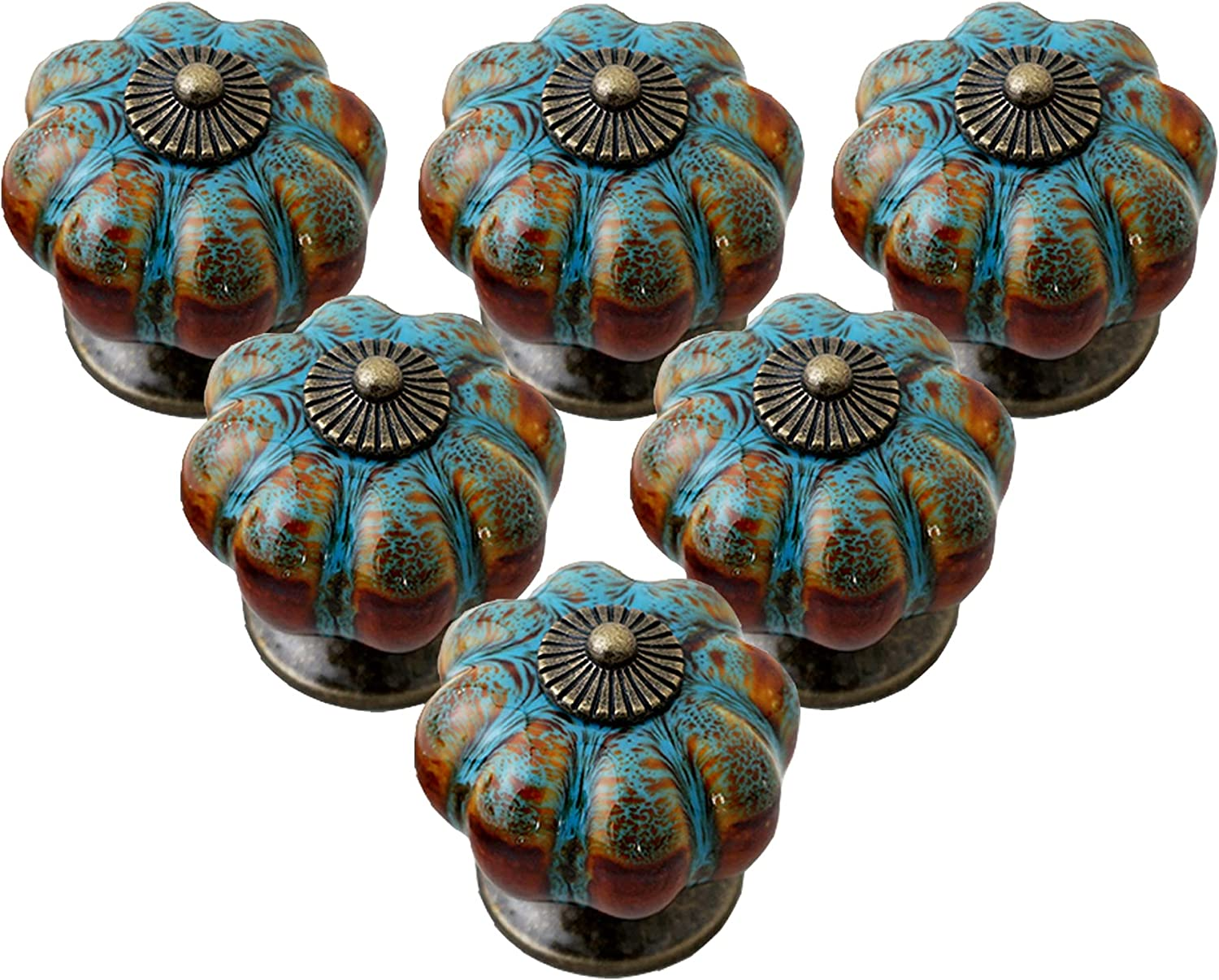 IEIK Cabinet Recommendation Outlet sale feature Knobs 6 Pack Pumpkin Glazed Shap with Ceramic