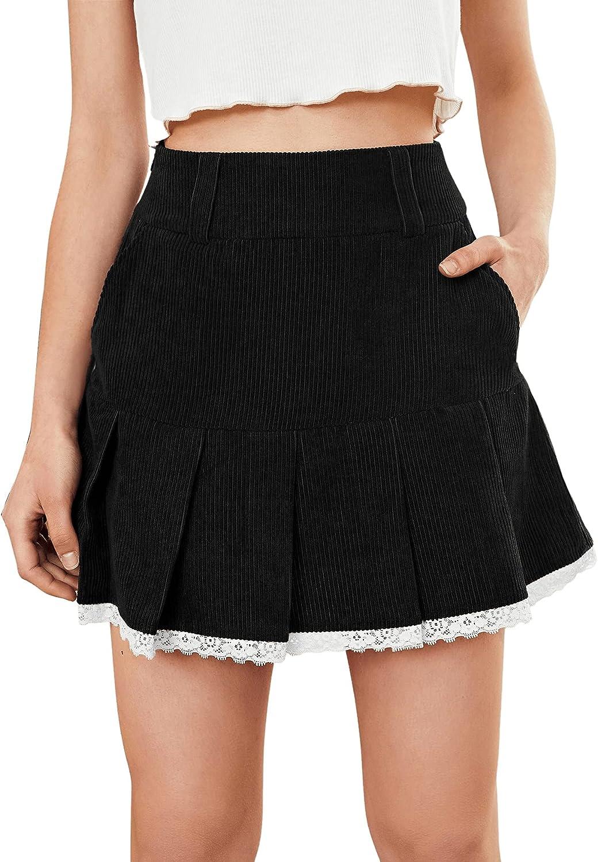 MakeMeChic Women's Corduroy Lace Trim Pleated Hem Pocket High Waist Short Skirt
