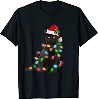 Black Cat christmas light tshirt funny cat lover christmas